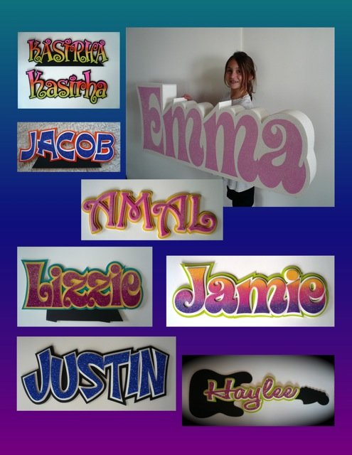3D names and others cut out names