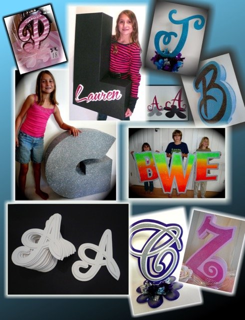 initials as 3D cut outs and other ways