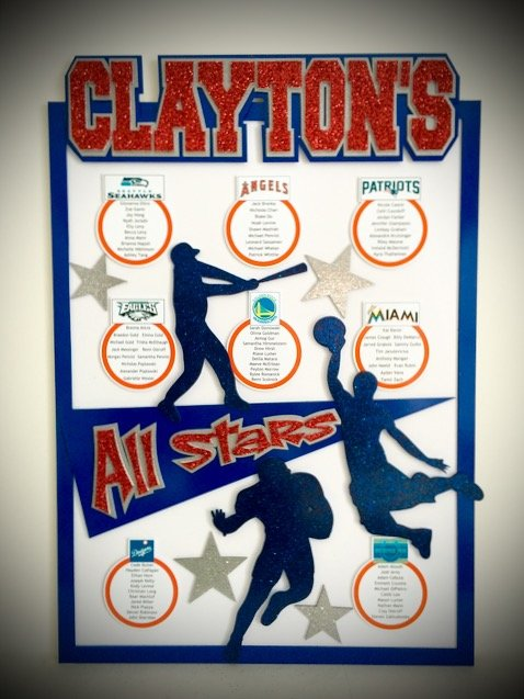 all stars sports place card board