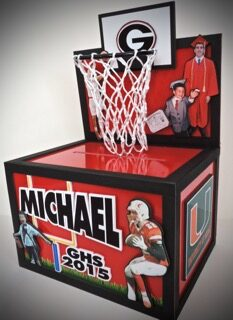 basketball gift card box with real net