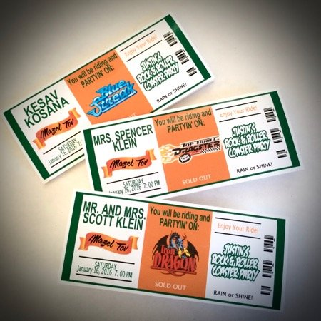 roller coaster place card tickets