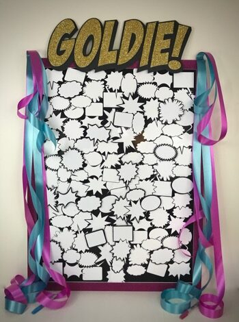 comic sign in board with speech bubbles for Goldie
