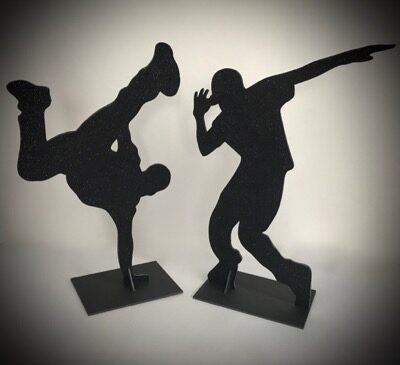 silhouette diy hip hop and break dancers in black glitter