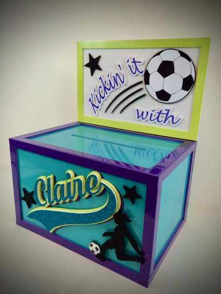 soccer themed gift card box for a bat mitzvah